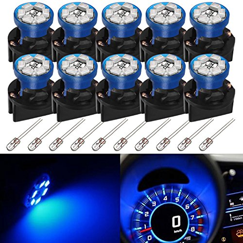 1988 Ford Ranger Dash - Partsam T10 194 LED Light bulb 168 LED Bulbs Bright Instrument Panel Gauge Cluster Dashboard LED Light Bulbs Set 10 T10 LED Bulbs with 10 Twist Lock Socket – Blue(Free 10pcs Amber Mini Bulb)