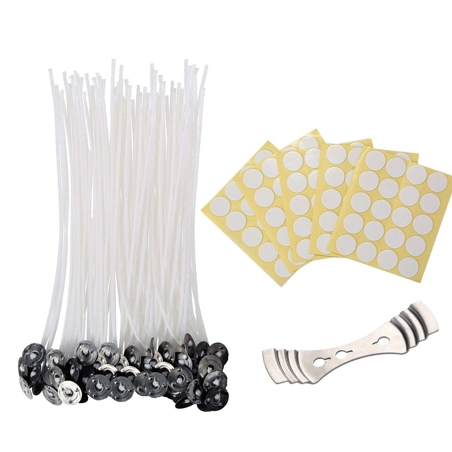 Candle Wicks, 100 Pieces Candle Wicks with 100 Pieces Dots Wick Stickers and 1 Piece Wick Holder, Candle Making Kit (6 inch) Vonker
