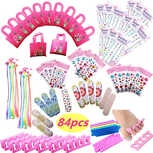 Spa Party Favors for Girls Multiple Spa Party Supplies- (12 Tote Bags, 12 MINI Emery Boards,12 Colored Hair Clip Braids, 24 Toe Separators, 12 Body Jewels, 12 Unicorn Nail Decal Sets) with 1 or More Secret Spa Gift Total 85pcs]()
