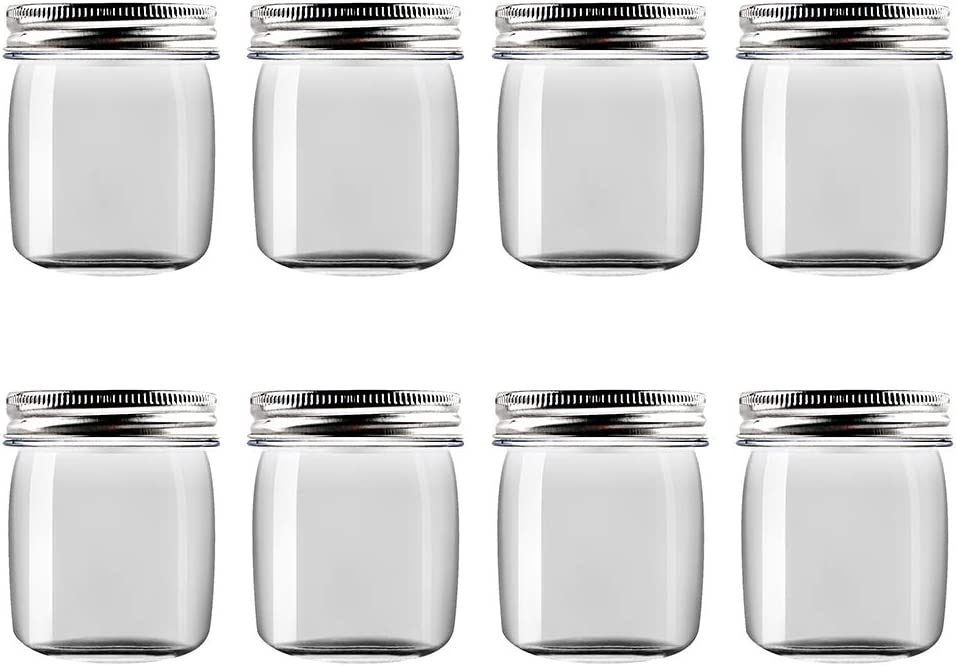Novelinks 8 Ounce Clear Plastic Jars Containers With Screw On Lids - Refillable Round Empty Plastic Slime Storage Containers for Kitchen & Household Storage - BPA Free (8 Pack)