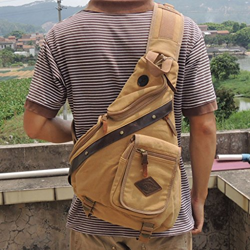 Canvas Messenger Hiking Men Travel Chest Business For Capacity Sport khaki Casual High Bag Ppge Outdoor Sling Backpacks Shoulder Bags Daypack IFUWwXT8An