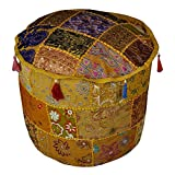 Indian Designer Handmade Cotton Round Footstool Ottoman Cover 18 x 18 x 14 Inches