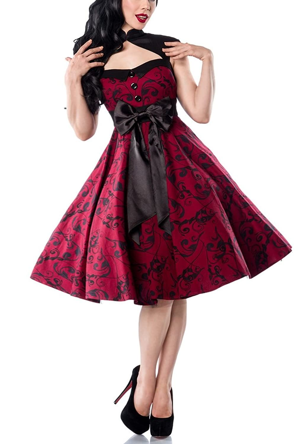 Red with Large Tapered Rockabilly Dress satin bow on front and back
