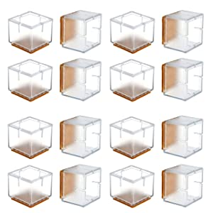 Chair Leg Floor Protectors, WarmHut 16pcs Transparent Clear Silicone Table Furniture Leg Feet Tips Covers Caps, Felt Pads, Prevent Scratches, Wood Floor Protector (Square)