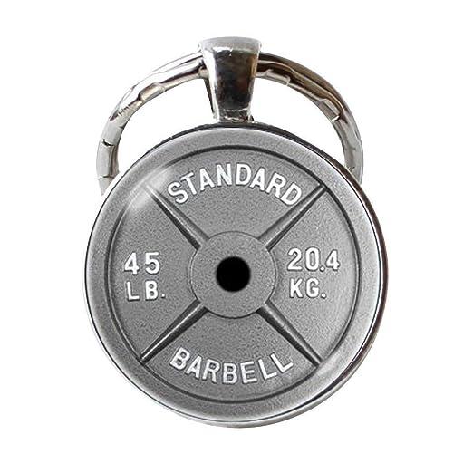 Llavero de mancuerna con cadena para pesas, para culturismo ...