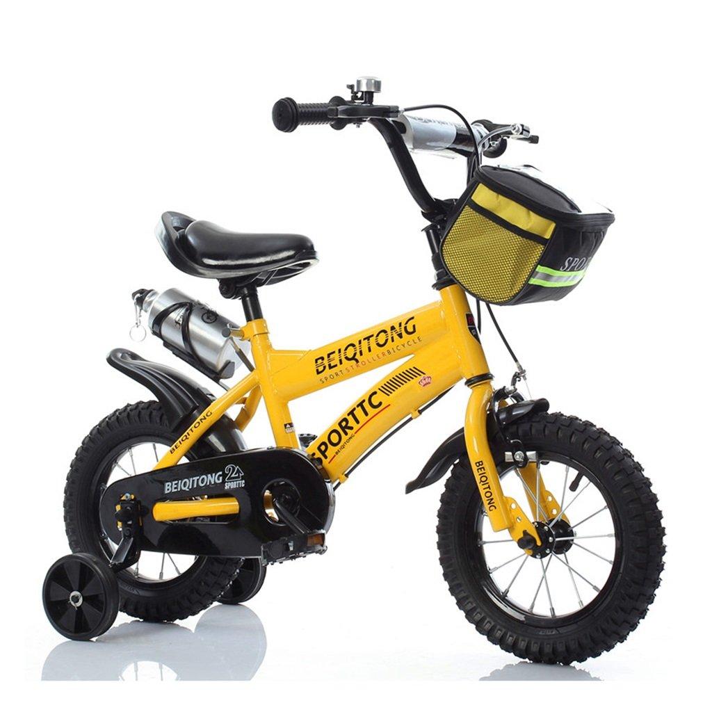 子供の自転車12|14|16|18|20インチ屋外の子供の赤ちゃんキッドマウンテンバイク黒のトレーニングホイールで2歳から11歳の男の子の女の子の贈り物|布バスケット|ウォーターボトルセーフダンプイエロー B078K3W657 16 inches