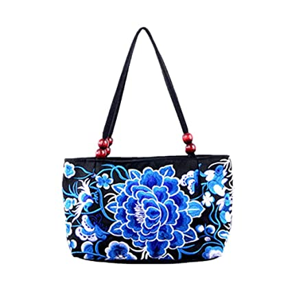 Image Unavailable. Image not available for. Color  Embroidered Women  Handbags Flower Embroidery Ethnic Shoulder Bags Hmong Tote Purse 916c95e007
