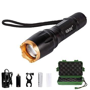 {accessoirespile Ultra PuissanteEclairage Lampe RechargeableAjustable Et De 5 Modes Exterieur Poche Torche Zoomable Led 4RA5L3j