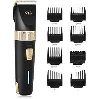 KYG Haarschneidemaschine Elektrischer Haarschneider Bart Trimmer Herren Präzisionshaartrimmer mit 8 Aufsatzkämmen für Salon oder zu Hause Schwarz MEHRWEG