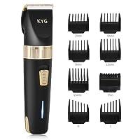 Haarschneider elektrische Haarschneidemaschine Herren Haar und Bartschneider Präzisionshaartrimmer mit 8 Aufsatzkämmen für Salon oder zu Hause Schwarz KYG