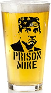 Prison Mike Beer Glass - The Office Merchandise | Funny Mug for Men and Women - Michael Scott Beer Glass