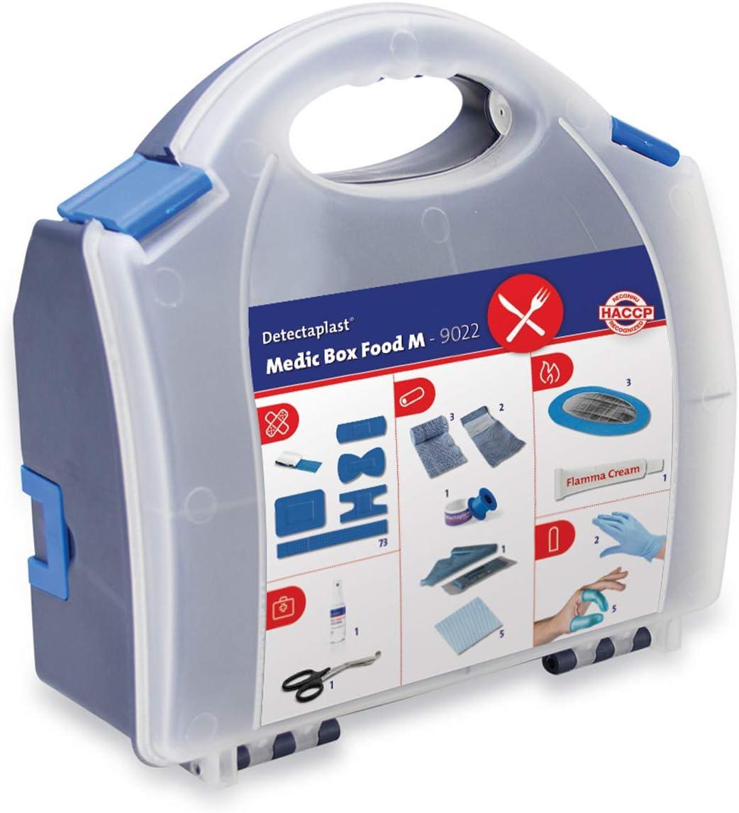 Botiquín de primerios auxilios para restauración Detectaplast, para el tratamiento de heridas, portátil en maletín con esparadrapo, vendaje, esparadrapo, 99 piezas