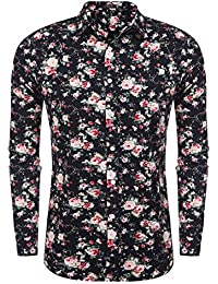 Men's Floral Print Slim Fit Long Sleeve Casual Button Down Shirt