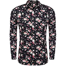 COOFANDY Men's Floral Print Slim Fit Long Sleeve Casual Button Down Shirt