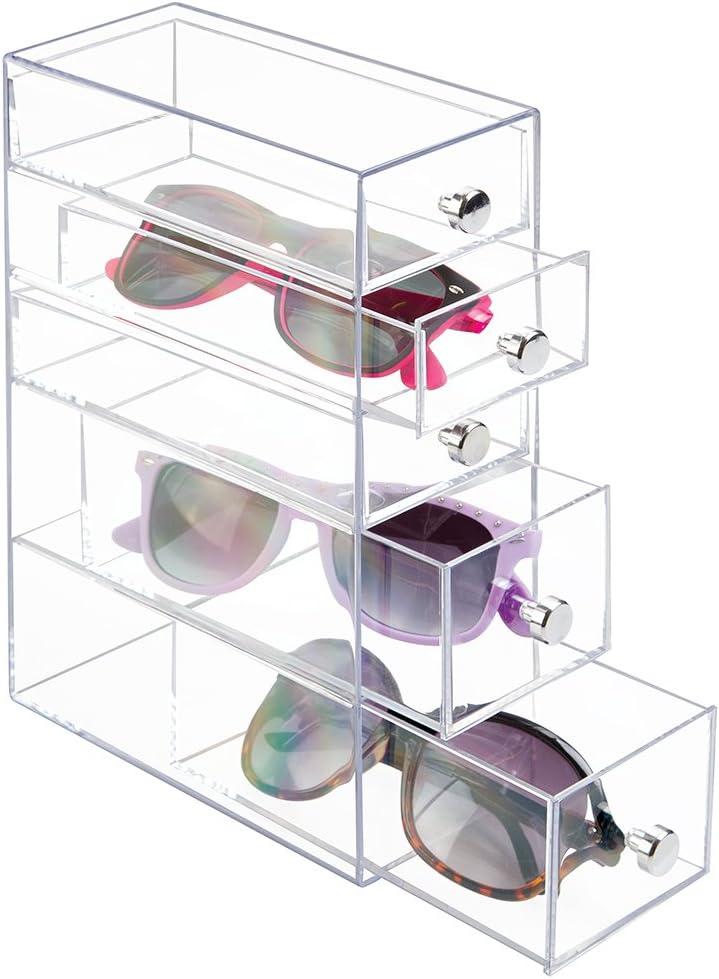 mDesign Organizador de Gafas con 4 cajones - Caja metacrilato en Color Transparente joyero u Organizador de Maquillaje: Amazon.es: Hogar