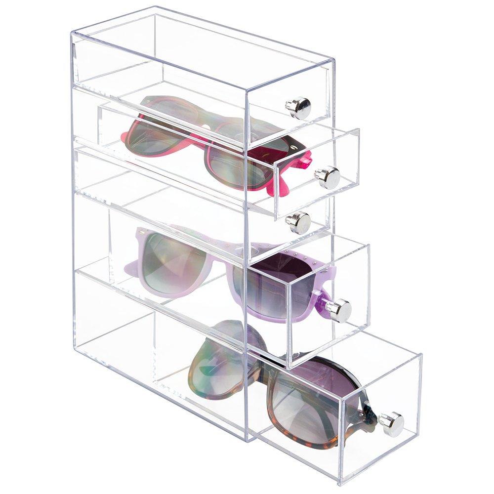 mDesign Organizzatore con 5 Cassetti per Occhiali da Vista - Trasparente MetroDecor 39560MDG