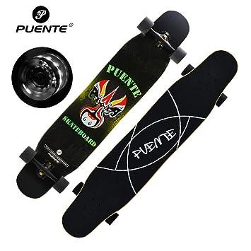 GYFY Tabla de Skate Doble Curva Tablero de Baile Brus Calle más Arce Flash Cuatro Ruedas Skateboard Adolescente Macho y Hembra Adulto Skateboard,Black: ...