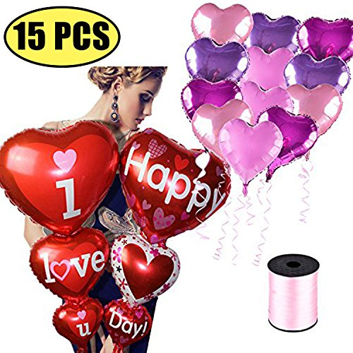 Coxeer Wedding Balloons, 15PCS Heart Shaped Balloon I LOVE YOU Balloons Foil Balloon for Wedding Birthday Propose Marriage Party Decorations