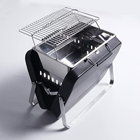 Sougem Portable Charcoal Grill Stainless Steel Folding Barbecue Grill,Small Size,Black