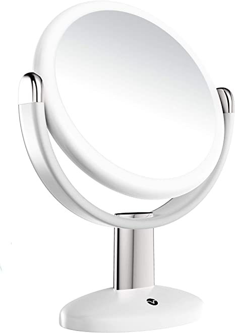 Amazon Com Vremi 10x Magnified Vanity Mirror 7 Inch Round Makeup Cosmetic Mirror For Bathroom Or Bedroom Table Top Portable Double Sided Glass Mirror Stand With 360 Degree Swivel White Home Kitchen