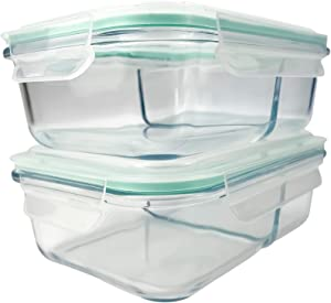 Vallo Large Glass Food Storage Containers [2-Compartment] with Snap Lock Lids for Leftovers - Safe for Microwave, Oven, Dishwasher, Freezer - BPA Free - Airtight & Leakproof [2 Pack]
