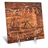 3D Rose USA-Southwest-Indian Petroglyphs on Sandstone Desk Clock, 6'' x 6''