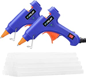 TOPELEK Mini Hot Melt Glue Gun 2 Pack with 30pcs Glue Sticks,Removable Anti-hot Cover Glue Gun Kit with Flexible Trigger for DIY Small Craft Projects & Sealing and Quick Daily Repairs, 20-watt