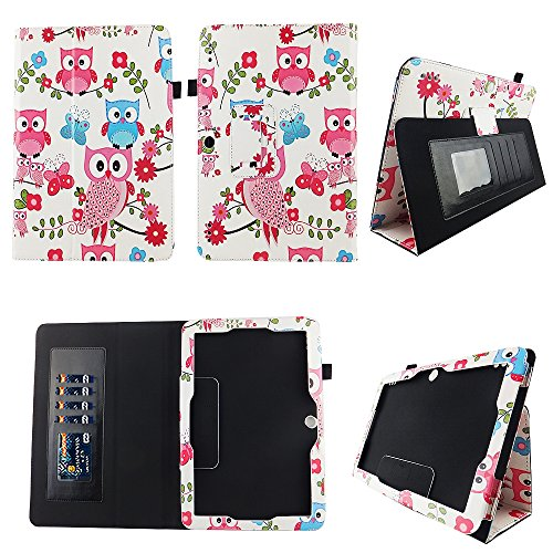 Pink Owl Butterfly Insignia Flex 10.1 Inch Tablet NS-P10A7100 Case Slim Fit Premium Pu Leather Folio Stand Case Cover w Stylus Holder ID Slots Android Tablet