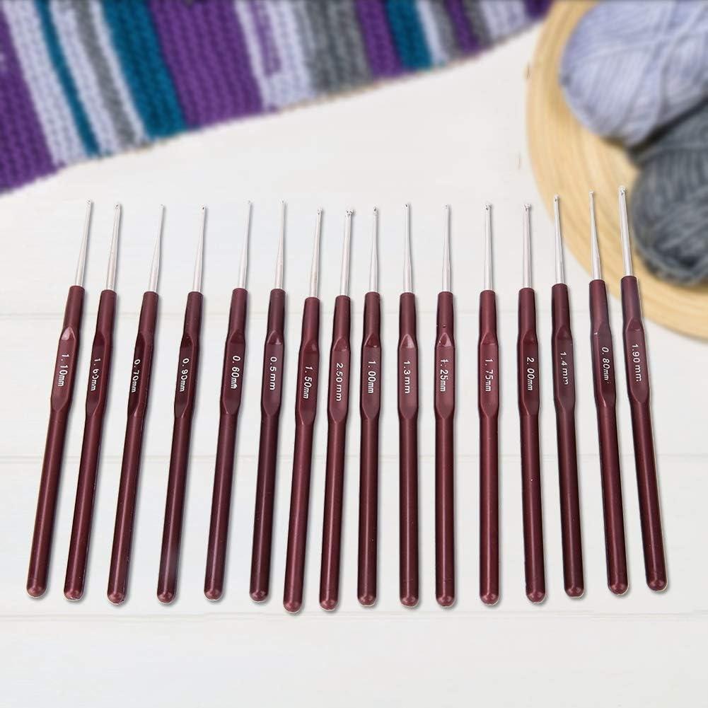 Metall-Stricknadeln 16-teiliges H/äkelnadelset Kunststoffgriff DIY-Strickwerkzeug Spitze H/äkelnadel-Set 0,5-2,5 mm