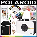 Polaroid Accessory Holiday Gift Bundle (Camera Not Included) + ZINK Paper (30 Sheets) + Snap Themed Scrapbook + Pouch + Edged Scissors + 100 Sticker Frames + Color Gel Pens + Hanging Frames + More