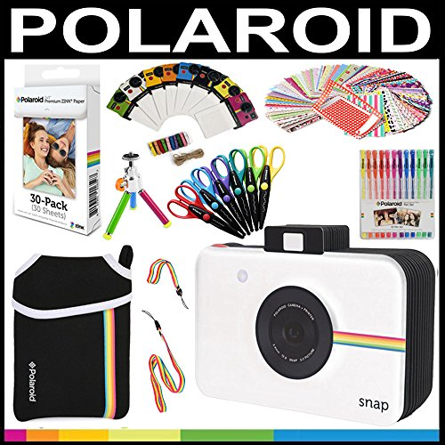 Polaroid Accessory Holiday Gift Bundle (Camera Not Included) + ZINK Paper (30 Sheets) + Snap Themed Scrapbook + Pouch + Edged Scissors + 100 Sticker Frames + Color Gel Pens + Hanging Frames + (Themed College Parties)