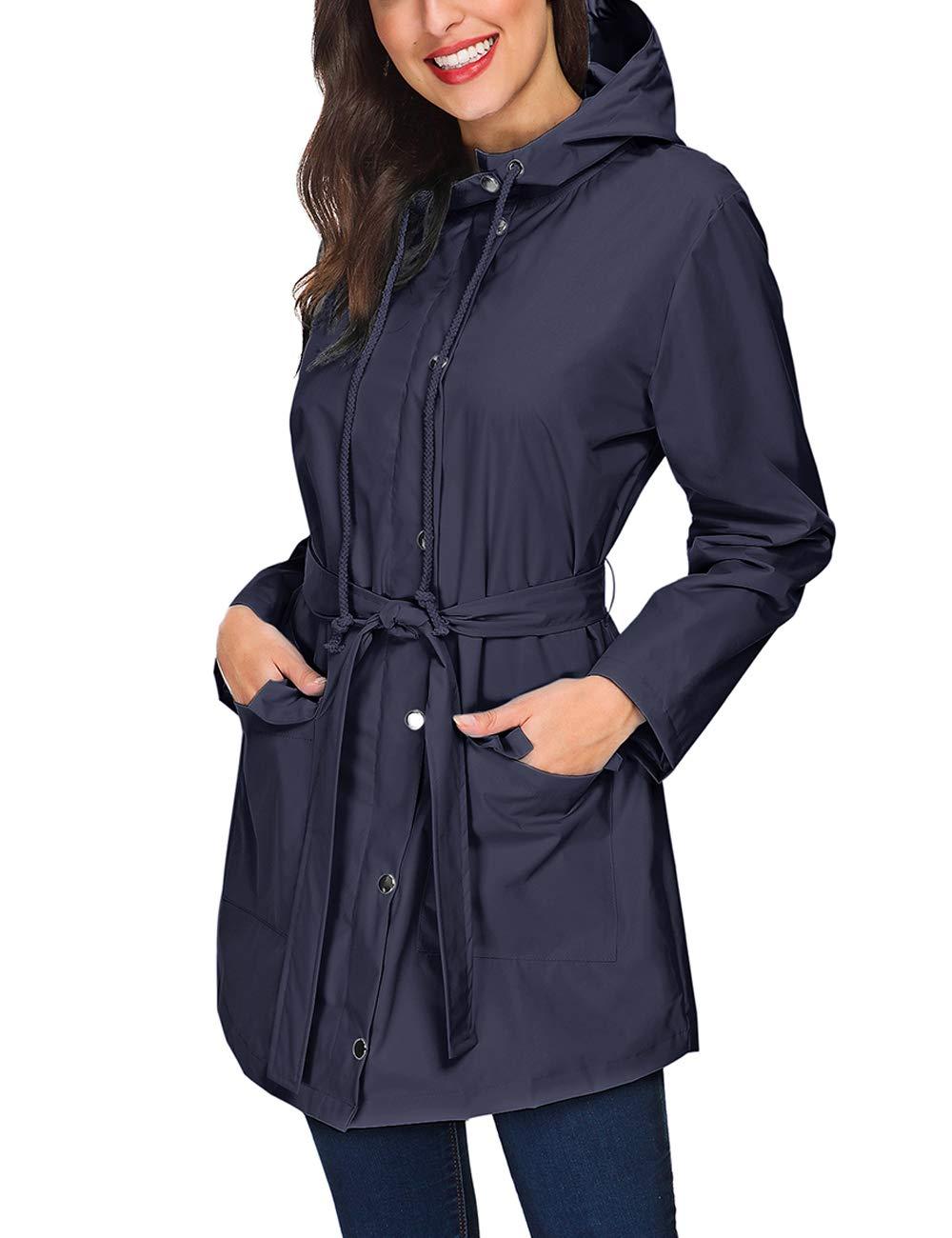 ZHENWEI Women's Rain Jacket with Hood Waterproof Lightweight Nylon Lined Raincoat for Holiday Travel (Navy Blue,M) by ZHENWEI