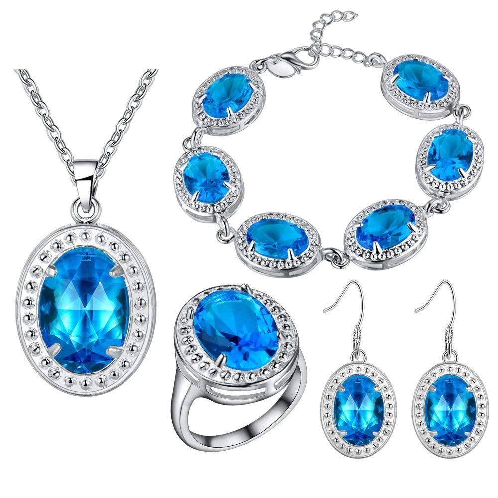 GTHYUUI Exquisite Crystal Jewelry Set Silver Plated Necklace Dangle Earrings Bracelet and Rings Gemstone Jewellery Sets for Women and Teen Girls