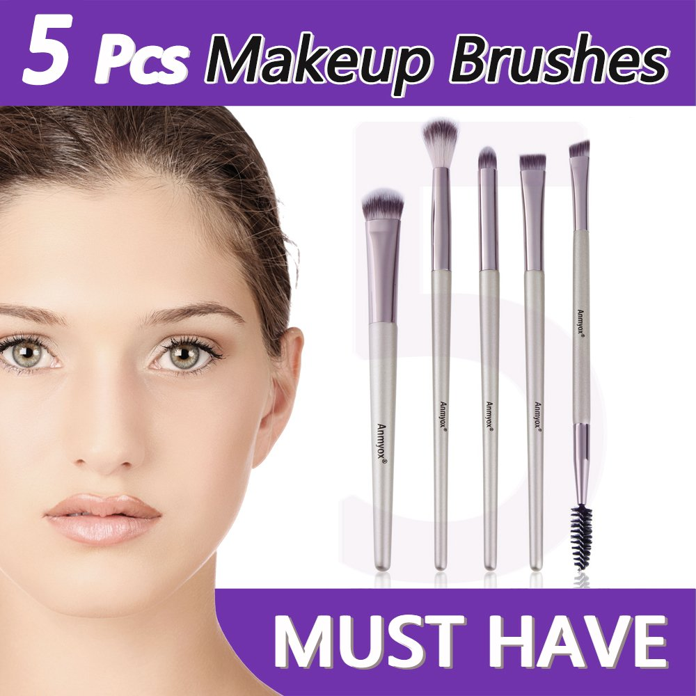 Anmyox Eye makeup Brush set, Premium synthetic Kabuki cosmetici ombretto sopracciglio pennelli trucco Brush Tool kit (5pezzi)