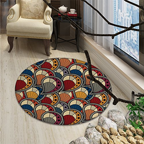African Round Rugs Paisley Motifs with Geometric Design Dots and Lines Teardrop Shape with Curved TipOriental Floor and Carpets Multicolor