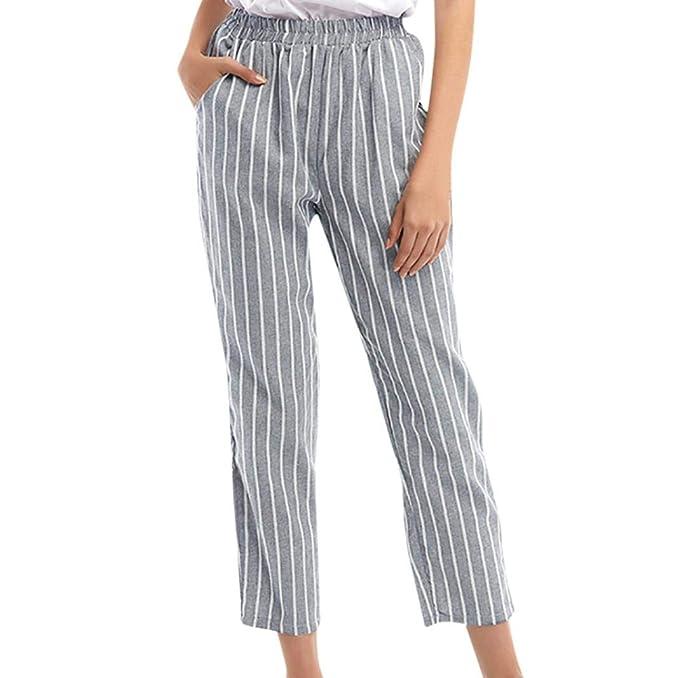 Pantalones Mujer, ASHOP Raya Pantalones Vaqueros Ocio Estilo ...