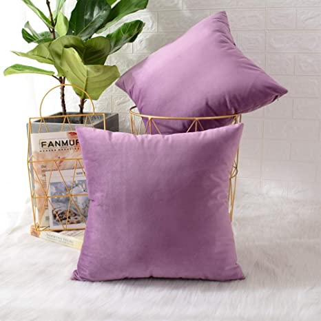 Purple Cushion Cover Decorative Pillow Cover 18x18 In. Digital Printing Velvet Throw Pillow Case for Sofa Chair Bedroom Living Room