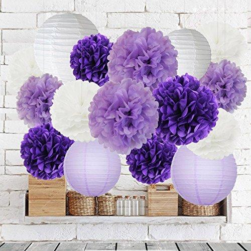 34d8b07af4a0 Bridal Shower Decorations Furuix Purple Wedding Shower Decorations 16pcs  White Lavender Purple 10inch 8inch Tissue Paper Pom Pom Paper Lanterns for  ...