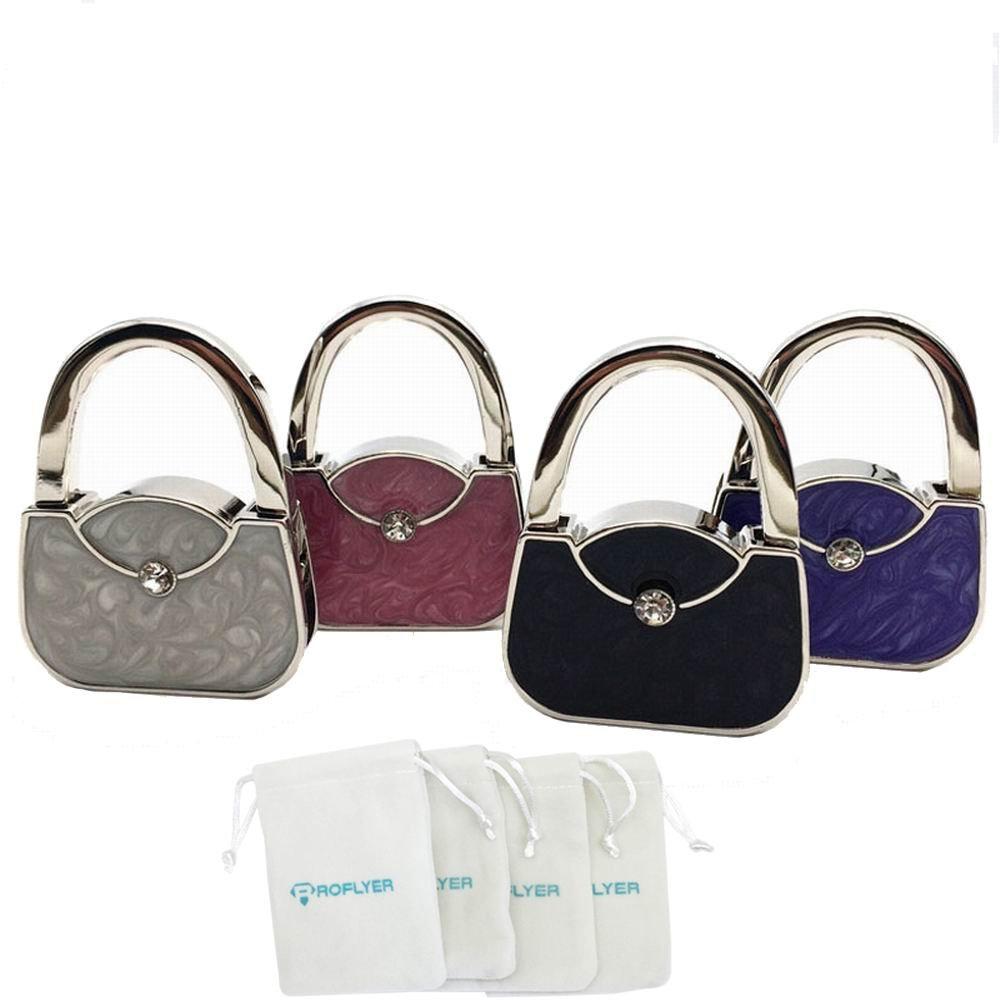 ROFLYER Handbag Shape Design Metal Foldable Purse Bag Hook Table Hanger,Set of 4