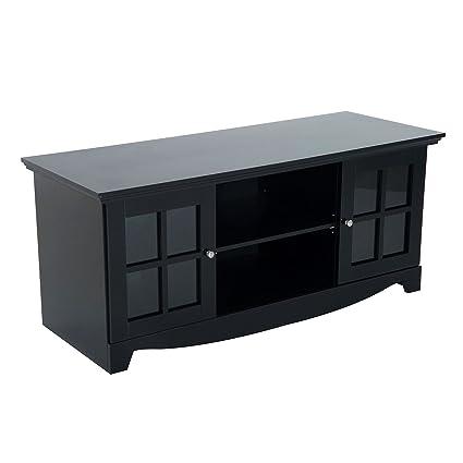 HOMCOM 56u201d Modern Country Media Storage Entertainment Center TV Stand   Matte Black