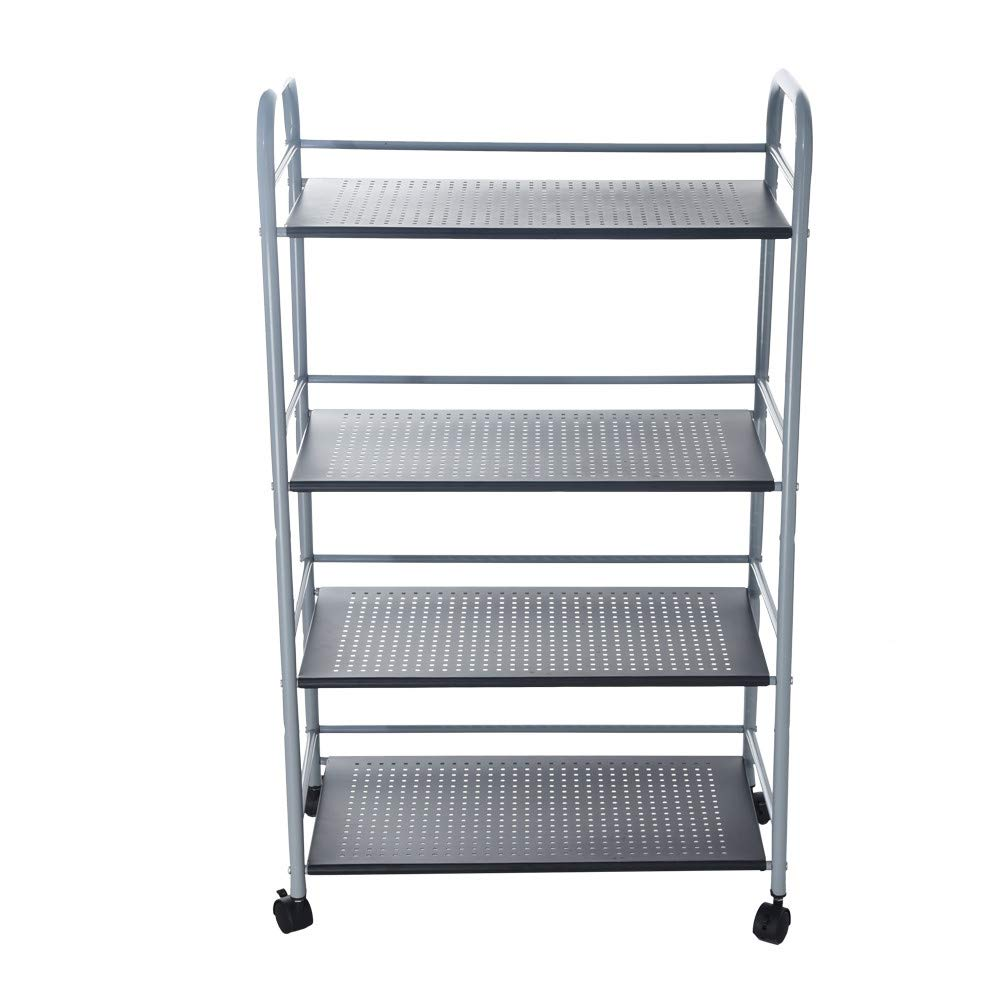 Quelife Kitchenware Shoe Storage Rack With 4 Side Hook Shelf Steel Storage Organizer Shelf Adjustable -60x32x100cm
