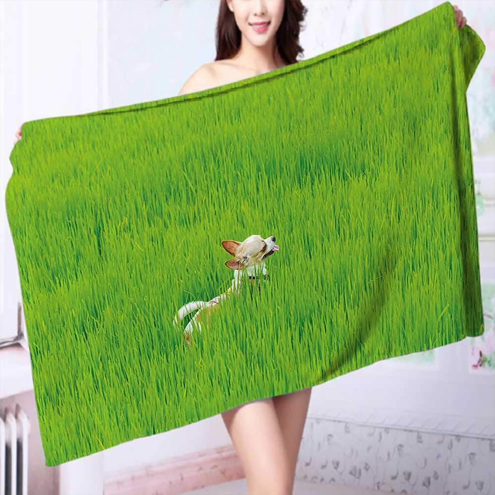 PRUNUS Extra Large Bath Towel Chihuahua Puppy Dog in The Grass Cute Animal Pet Best Friend Picture Fern Easy Care Machine wash