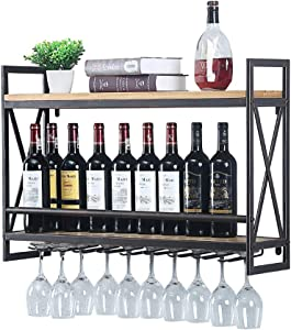 Industrial Wine Racks Wall Mounted with 8 Stem Glass Holder,31.5in Rustic Metal Hanging Wine Holder Wine Accessories,2-Tiers Wall Mount Bottle Holder Glass Rack,Wood Shelves Wall Shelf(Bronze)