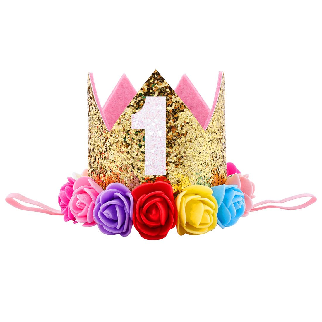 Missley Corona Rosa Flor Corona de Oro Corona de cumpleaños ...