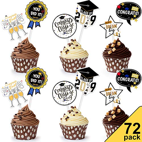 Chuangdi 2019 Graduation Cupcake Toppers 6 Types Cake Decoration 2019 Cap Graduation Picks for Graduation Party Decor Favors Supplies Graduation Cake Toppers (72 Pieces) (Best Types Of Cake)