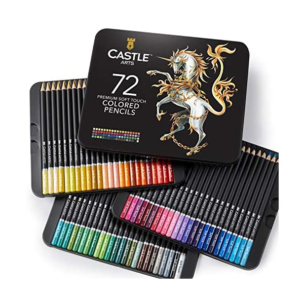 Castle Art Supplies 72 Premium Colored Pencils Set for Adults Artists | Ideal for Coloring Books Drawing Sketching… 1