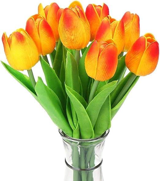 20PCS Artificial Flor Tulipán Látex Nupcial Boda Ramo Decoración del hogar