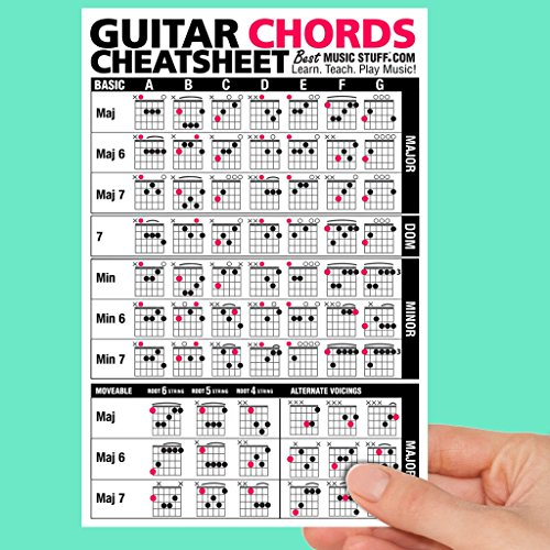 Guitar Chords Cheatsheet Laminated Pocket Reference • Best Music Stuff (LARGE - 6-in x 9-in) ()