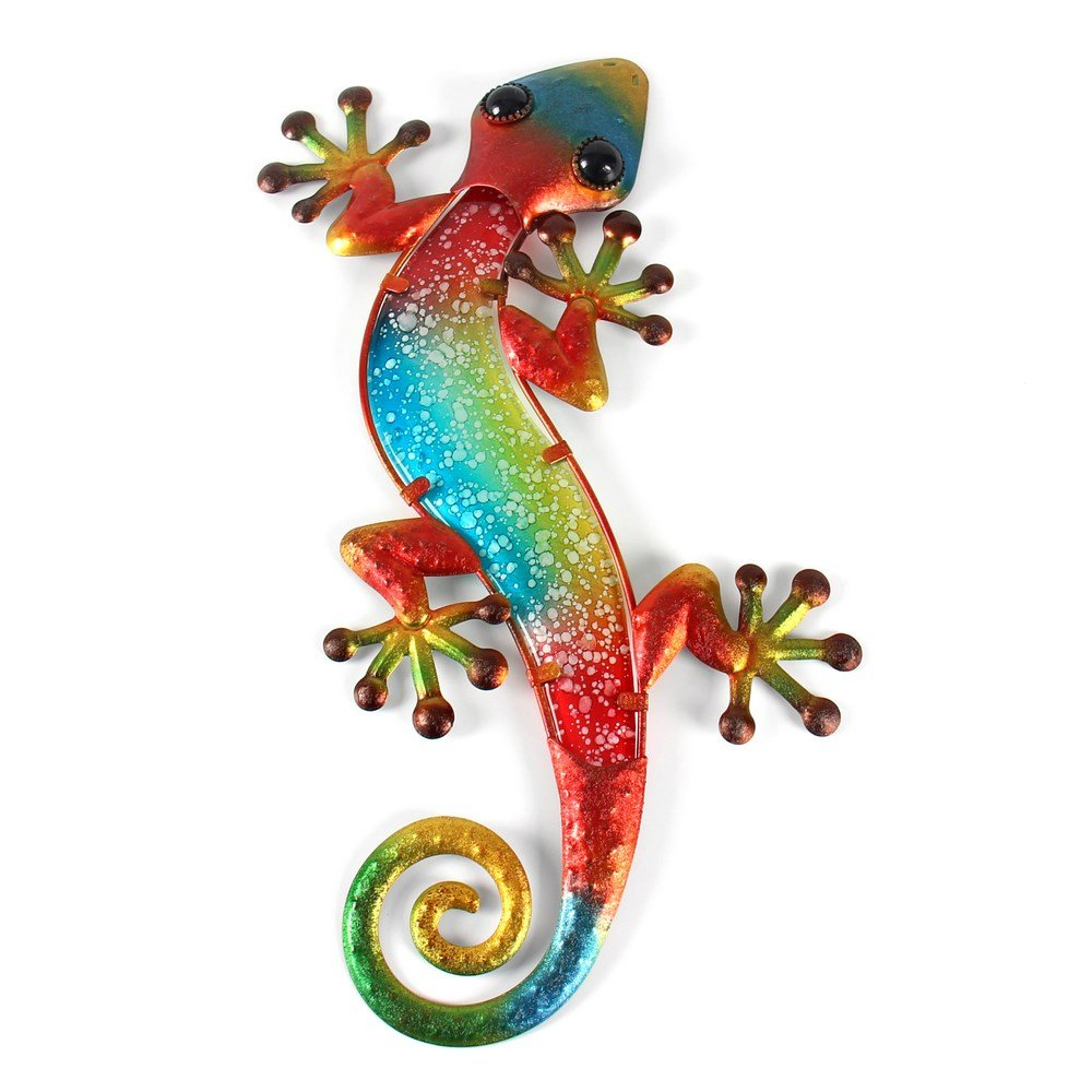 Liffy Metal Glass Wall Decorations Lizard Decorative Living Room Bedroom Wall Art Hang Indoors or Outdoors Red