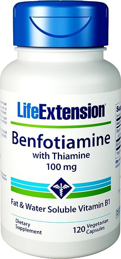 Benfotiamine, con tiamina, 100 mg, 120 Caps Veggie - Extensión de la Vida